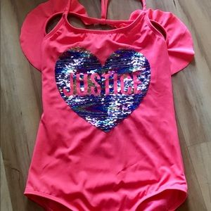 JUSTICE Swimsuit One Piece Heart Sequins Size 14